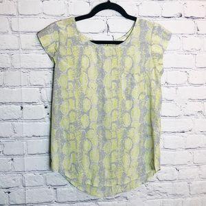 JOIE Snake Print Silk Short Sleeve Ruffle Top